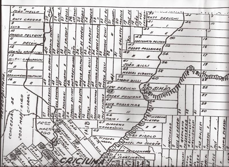 Mapa da região de São Simão (provavelmente em torno de 1920)